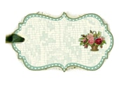 Green Lace Tags Victorian Flower Basket Tag Roses Vintage Lace and Polka Dots
