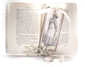 Jane Austen Bookmark, Cottage Chic Gifts, Bridal Shower Favors, Bridesmaid Gifts, Regency Gifts White Frills Jane Austen Gifts Tag Bookmark