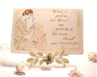 Mother's Day Card, Vintage Retro 1930's, Literature Card, Author Card, Little Women, Mother Daughter Louisa May Alcott  Card
