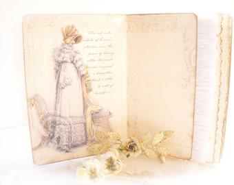 Jane Austen Emma Literature Journal,  Bridal Shower Guestbook, Travel Journal, Handmade Regency Art Journal, Literature, Jane Austen Journal