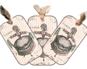 Paris Tag 18th Century French Shabby Pink Roses Swag Gift Tag