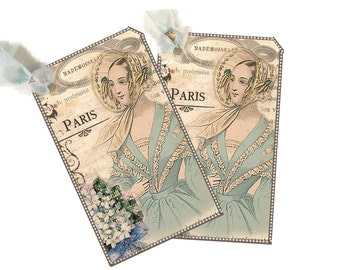 Paris Fashion Gift Tags, Bridal Shower Gift Bag, Fashion Plate Romantic Paris Gift Tags, 19th Century French Paris French Green