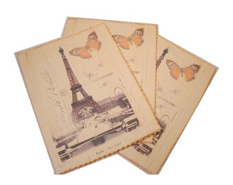 Paris Notecards, Vintage Paris Postcard, Butterfly Set of Six Gifts for Her