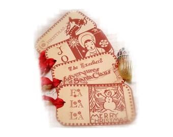 Folk Christmas Tag Swedish Style Christmas  Red and Cream Retro Tags