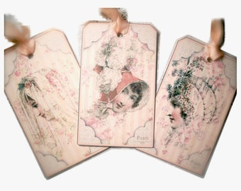 Jane Austen Tag Gift Tag Three  Regency 19th Century Paris Fashion Beauties  by Dorothy Jane