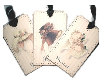 Jane Austen Gift Tags Regency Bonnet Gift Tag Pale Shabby Pink
