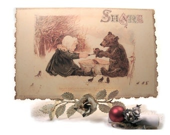 Woodland Christmas Card, Share at Christmas, Girl and Bear in Snowy Woods, Little Winter Birds