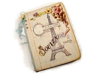 Paris Travel Journal, Paris Flea Market, Honeymoon Scrapbook Souvenir, Mini File Folder French Journal with Pockets