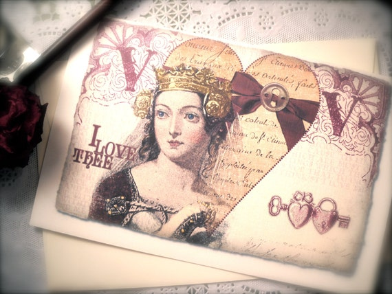Medieval Valentine Queen Card Lock Heart I love Thee Greeting Card