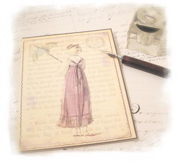Jane Austen Note Cards, Six Note Cards, Persuasion, Jane Austen Regeny Gifts, Thank You Note Card, Jane Austen Bridal Shower Gift