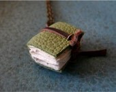 Book Necklace -  The Forest Is My Throne - The Book Of Communion With Nature - 1/4 size Tiny Handbound Leather Journal Necklace