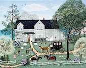 Folk Art Print  Historical naive art lithograph - Long Island History President  George Washington scene 1790 office home den art