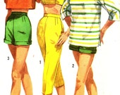 Vintage 1950s Simplicity Misses' Capri Pants, Shorts, Pullover Shirt, and Bra Top, Size 15, Bust 35