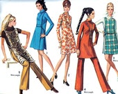 Vintage Sewing Pattern 1960s Simplicity 8346 Mod Plus Size Dress or Tunic and Pants with Jerkin Size 16 Bust 38
