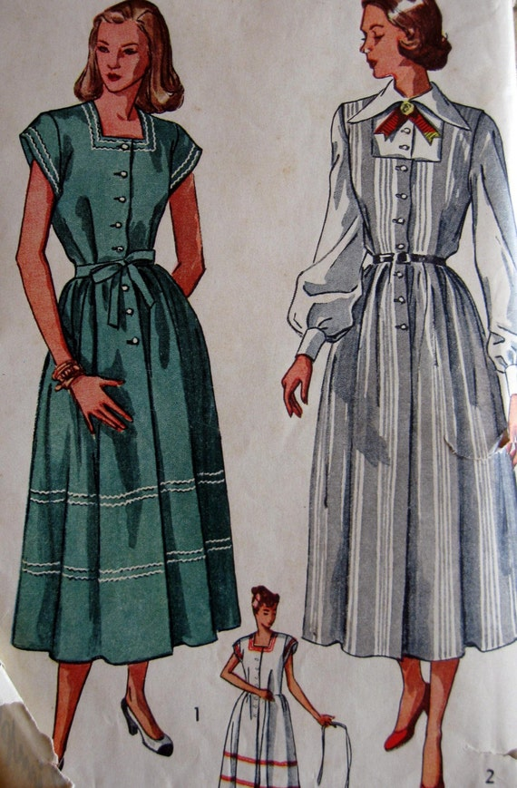 Vintage Sewing Pattern 1940s Simplicity 2459 Maternity Dress or Jumper with Square Neckline and Blouse Size 12 Bust 30