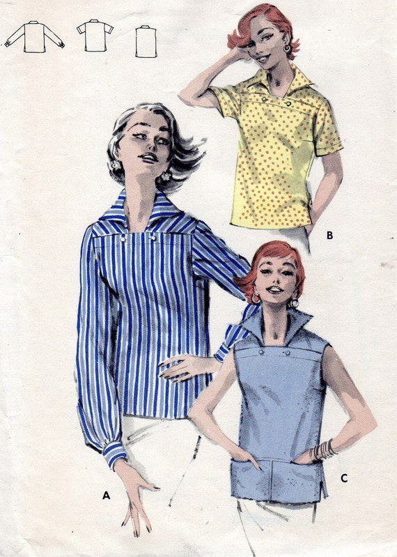 Vintage Sewing Pattern 1950s Butterick 7771 Casual Overblouse, Horizontal Button Closing Size 12 Bust 30