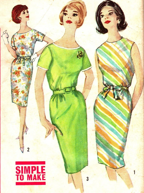 Vintage Sewing Pattern 1960s Simplicity 4394 Mad Men Plus Size Slimming Sheath Dress Size 20 Bust 40
