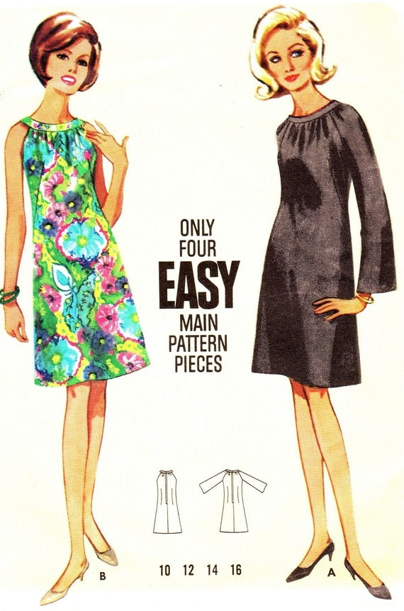 Vintage Sewing Pattern 1960s Butterick 4304 A-Line Dress with Oval Neckline Junior Teen or Petite Size 10 Bust 31