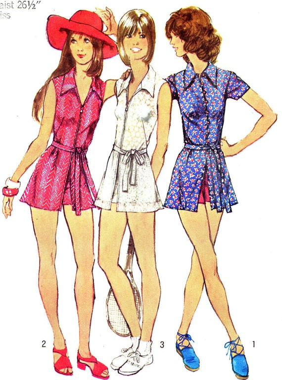 Vintage Sewing Pattern 1970s Mini Dress, Tennis Dress, Hot Pants, Short Shorts Simplicity 5013 Size 12 Bust 34