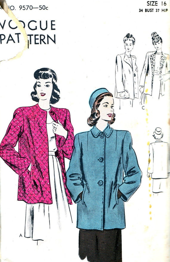 Vintage Sewing Pattern Vogue 9570 Box Coat, Welt Pockets, Single Button Closing Size 16 Bust 34