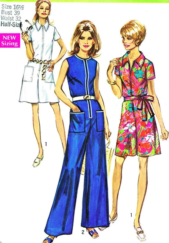 Vintage Sewing Pattern 1970s Simplicity 8799 Wide Leg Jumpsuit or Romper with Front Zip Opening and Patch Pockets Size 16 1/2 Bust 39