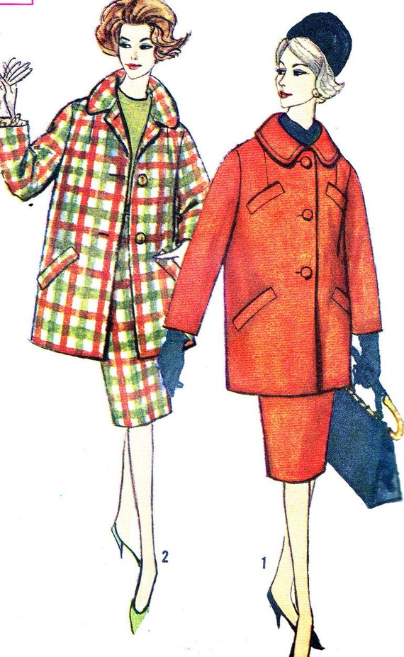 Vintage Sewing Pattern 1960s Simplicity 3622 Pencil Skirt and Matching Coat with Welt Pockets Size 18 Bust 38