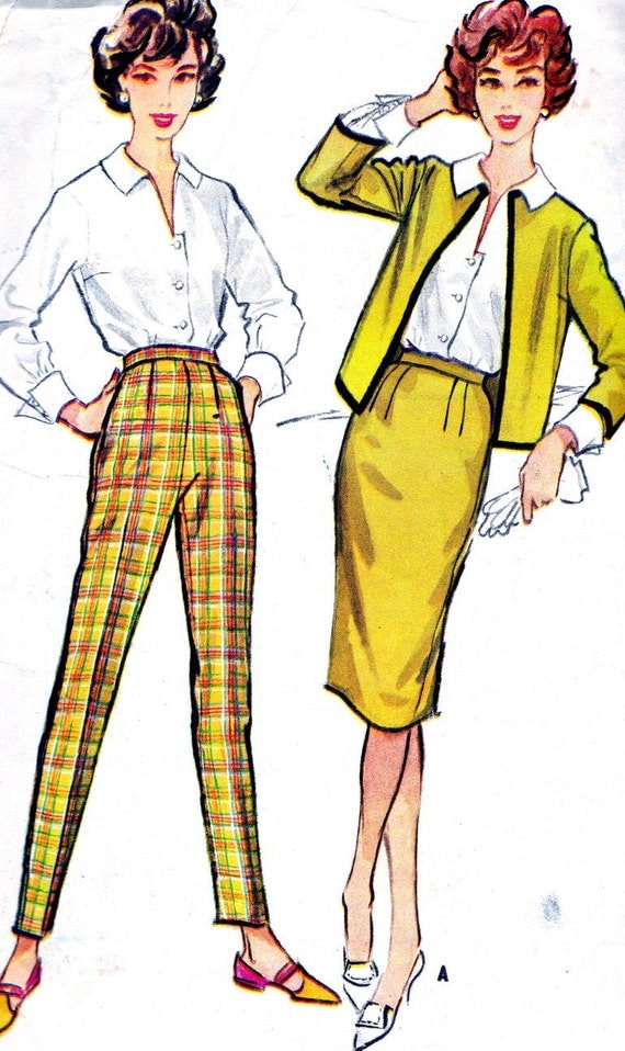 Vintage Sewing Pattern 1950s McCall's 4942 Skinny Pants, Low Cut Blouse, Sheath Skirt and Jacket Size 16 Bust 36