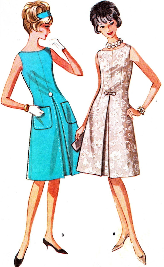 Vintage Sewing Pattern 1960s McCall's 6725 Sleeveless Dress with Inverted Front Pleat Size 14 Bust 34
