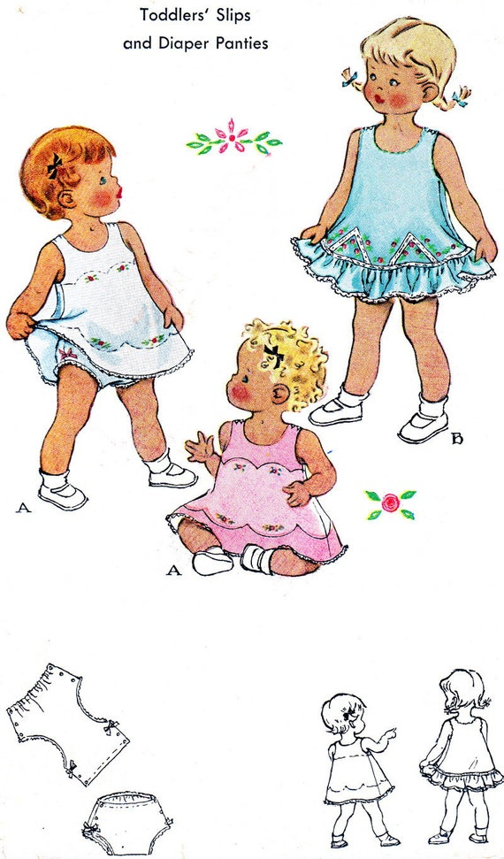 Vintage Sewing Pattern 1950s McCall's 1639 Toddler Sleeveless Slip Dress, Button Shoulder Straps, Bloomers Size 1