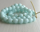 50 Opaque Pale Turquoise 4mm Faceted Rounds - Czech Glass Beads