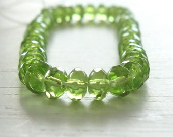 50 Olivine Czech Glass Rondelles 3x5mm