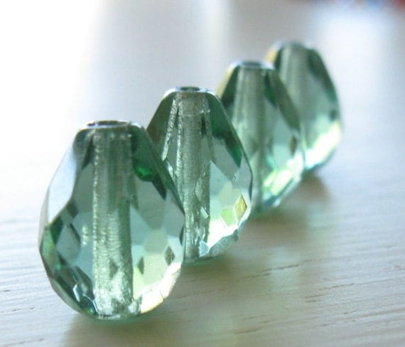 Czech Glass Beads - Tourmaline Colored Faceted Teardrops 13x10mm 4pk