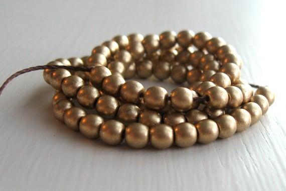 Czech Glass Beads - 100 Matte Gold 4mm Smooth Rounds