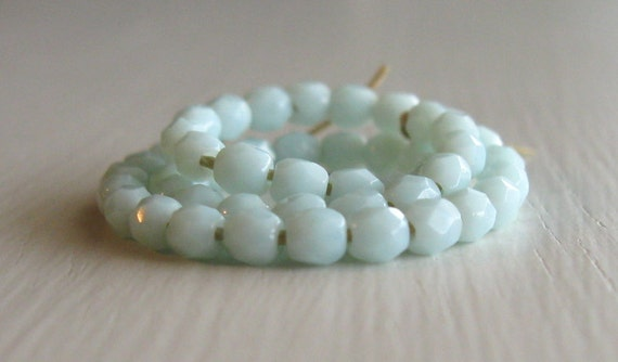 50 Opaque Pale Turquoise 3mm Faceted Czech Glass Rounds