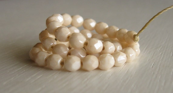 50 Opaque Champagne Luster 4mm Faceted Rounds - Czech Glass Beads