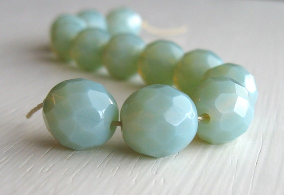 12 Milky Sage Faceted 10mm Rounds - Czech Glass Beads