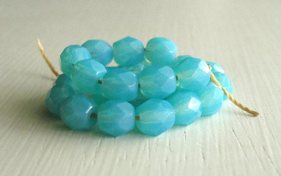 25 Milky Caribbean Blue 6mm Rounds - Czech Glass Beads