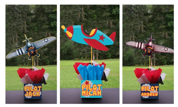 PLANES AIRPLANE PILOT Birthday Party Centerpiece - 3 feet tall favors Mitzvah baby shower 1st birthday centerpieces