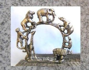 Pewter Wildlife Napkin Rings Set of 4