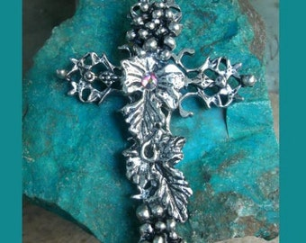 Filligree Grape Vine Cross with Rhinestone