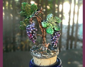 Hand Painted Grape Cluster Wine Cork
