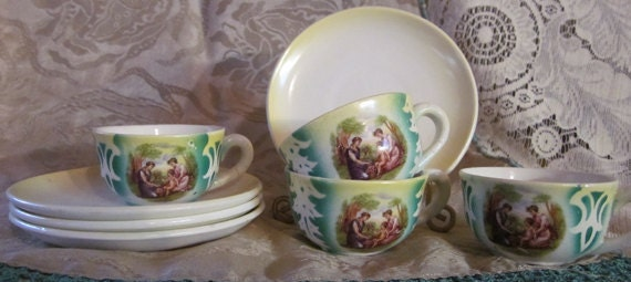 Vintage Child Size Cup and Saucer Set  Charming Set of 4 Marked Lambrato N.C. TREASURY Item