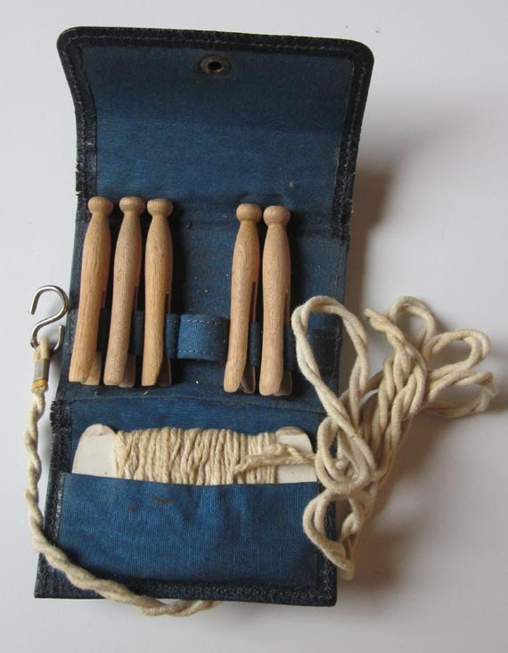 Vintage Child's Clothespin and Clothesline Set in Leather Pouch Collectable Childrens Toys - General Store Display