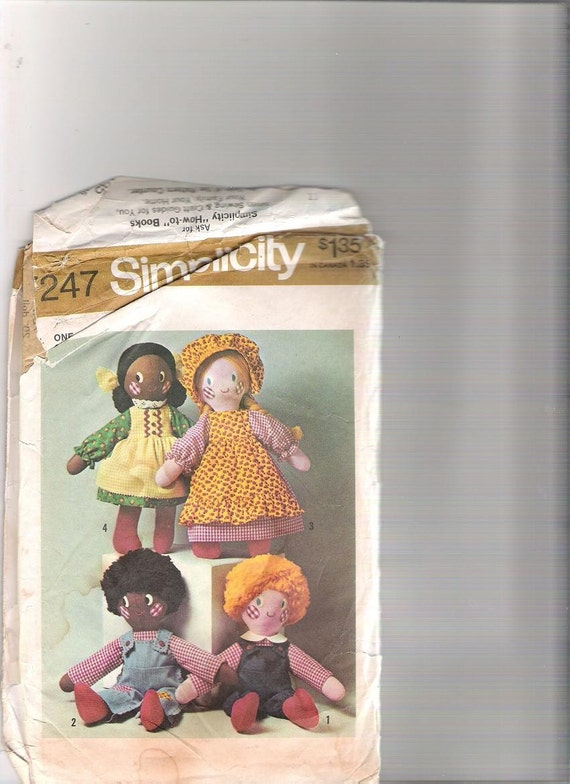 vintage cloth doll pattern simplicity 7247
