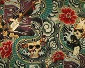 Alexander Henry ZEN CHARMER Snake Skull Quilt Fabric by the Yard, Half yard, or Fat Quarter Geisha Japan Japanese Skull