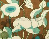 RARE Robert Kaufman KITSCHY KITCHEN Poppy - Brown, Aqua, Turquoise, Quilt Fabric by the Yard