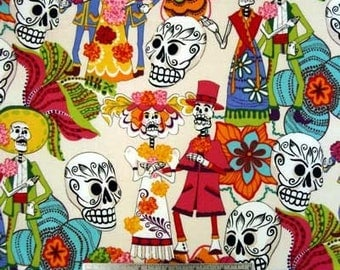 LOS NOVIOS NATURAL Alexander Henry Sugar Skulls Quilt Fabric by the Yard, Half Yard, or Fat Quarter Fq Dios de los Muertos Skull Mexican
