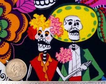 Alexander Henry LOS NOVIOS BLACK Sugar Skulls Quilt Fabric Day of the Dead by the Yard, Half Yard, or Fat Quarter Fq Dios de los Muertos