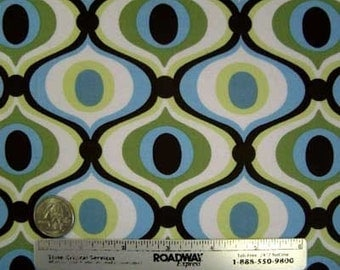 "1.9 Yds Michael Miller FEELING GROOVY Spa Blue Brown Cotton Mod Retro Quilt Fabric 1 Yard & 34"" Last Piece"