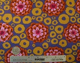Kaffe Fassett BUBBLE FLOWER DUSK Gp97 Purple Quilt Fabric by the Yard, Half Yard, or Fat Quarter Fq Floral Flower Ochre